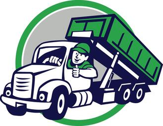 green truck with driver